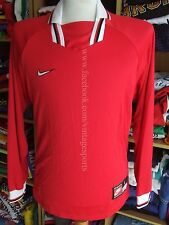 BNWT Vintage Shirt Nike Football (L) Red Long Sleeve Jersey Soccer Maglia NEW