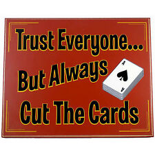 Trust Everyone But Always Cut The Cards Wood Poker Card Sign - Gameroom Bar Pub