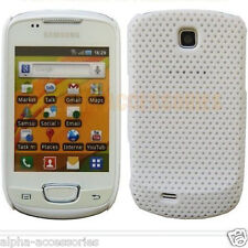For Samsung Galaxy Mini S5570 White Mesh Net Case Perforated Hard Back Cover UK