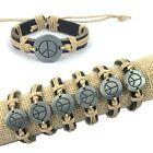 "6pcs Fashion Color Mixing Genuine Leather Hemp ""Peace"" Pendant Bracelets"