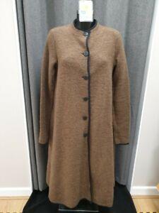 (LYM) Son De Flor Brown Ladies Calf Length Coat 80% wool Size M