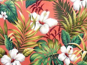 Hawaiian Cotton Barkcloth Fabric PILLOW /Vintage Fringe ~Hibiscus Garden-Coral~