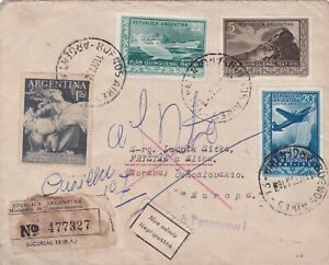 Argentina 1956 cover to Czechoslovakia returned due to the Bolsa stamp