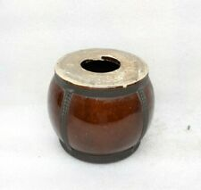 Vintage Old Brown Glazed Brass Fitted Porcelain Wine Pot Bottle Jar Drum Rare MP