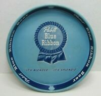 """Old PBR Pabst Blue Ribbon Beer Tray """"it's splendid... it's blended"""" metal adv"""