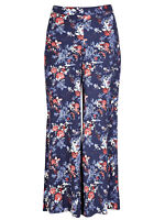 Marks & Spencer Per Una Navy Roma Rise Floral Palazzo Trousers