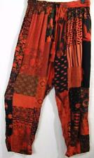 910P~TIENDA HO~Red-Orange~ART PANTS~Hippy Rayon Patchwork~RELAXED~resort~FUN~OS
