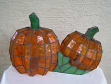 RARE! Cracker Barrel Stained Glass Pumpkin Tiffany Lamp Halloween Thanksgiving