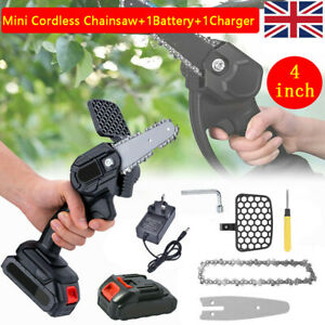 Cordless Electric Chainsaw 4 inch Wood Cutter Saw Woodworking+1 Battery Charger