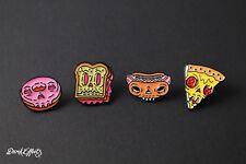 FOOD FACES OF HORROR  PIN BADGES FUNNY METAL DOUGHNUT PIZZA HOTDOG SANDWICH