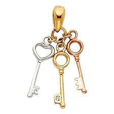 14K Tri Color Gold Key to My Heart Pendant GJPT466