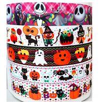 "Grosgrain Ribbon 7/8"" Halloween pumpkin candy corn LT6 Printed 5 YARD MIXED LOT"