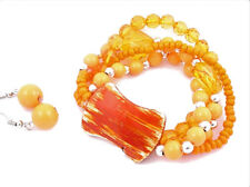 Beads Faux Pearl Wood Stretch BRACELET EARRING SET Orange