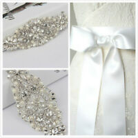 Crystal Wedding Sash Belt Rhinestone Applique With White Ribbon Dressing Belt