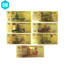 Colorful Russian Gold Banknote Set 7pcs Paper Money Currency Bill Note for Gifts