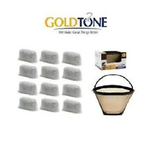 (12) GoldTone Charcoal Water Filters & #4 Cone Filter for Cuisinart Coffee Maker