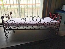 AMERICAN GIRL DOLL BED DAYBED METAL CAST IRON  VTG Antique Style Scrolled Hearts