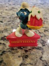 SMURF A Gram Have A Yummy Birthday Peyo Vintage Schleich 1980's PVC On Stand