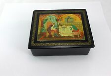 Russian Hand Painted Lacquer Palekh Box, signed  - Царевна лягушка by Комарова