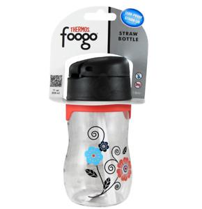 NIP THERMOS FOOGO 11-Ounce Straw Bottle, Poppy Patch