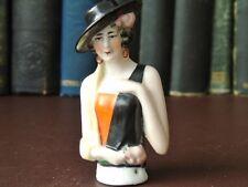 "Beautiful Art Deco 1920's Porcelain Half Doll - Pin Cushion Half Doll 90 mm 3.5"""
