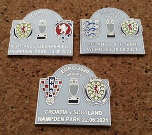 Set of all 3 SCOTLAND EURO 2020 GROUP D Match Pin Badges [WHITE]