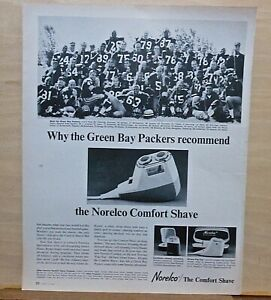 1964 magazine ad for Norelco razors - Green Bay Packers football team photo