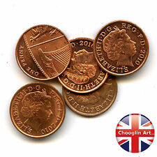 (x5) 2010 British Copper-Plated Steel ELIZABETH II One Penny coins,10 Years Old!