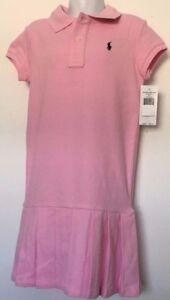 Ralph Lauren Girls Dress Polo Style Pink Pleated Bottom Navy Logo Size 6 NWT