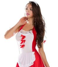 SALE! Women Sexy Red/White Maid 7 Piece Lingerie Dress Up Costume - USA Seller