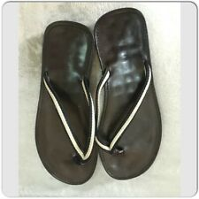30d34836e Gucci Dark Brown Leather and Canvas Thong mens Sandals Size 11