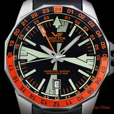 Vostok-Europe Men's 46mm Radio Room L.E. Automatic Dual Time Leather Strap Watch