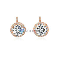 Bridal Jewellery 18K Rose Gold Plated Shining Swarovski Crystal Stud Earrings