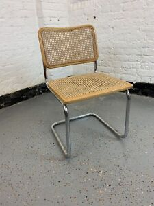 Mid Century Cesca Cantilever Dining Chair Marcel Breuer Stamped made in Italy