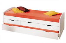 Lit banquette enfant 90x190 multifonction combiné 2 lits rangement massif BLANC