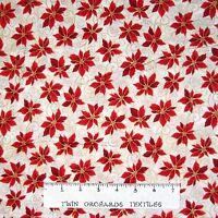 Christmas Fabric - Holiday Accents Poinsettia Swirl Cream - RJR Cotton YARD