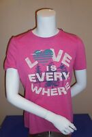 Life Is Good Womens Small Tee T-Shirt Pink Classic Fit Love Is Everywhere New