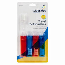 4 Travel Toothbrushes Fold up Foldable Toothbrush Holiday Red Blue Compact X2