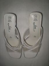 Fioni White Slippers with Heels 3 In. High Size 6W Wide EUR 37.5 UK 4.5