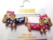 Gymboree Woodland Friends Dog Puppy Barrette/Clip NWT Pink Snap Dachshud Blue