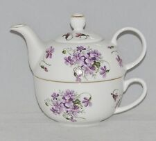 Royal Victorian Bone China Tea for One Set  Stacked Teapot & Cup WILD VIOLET