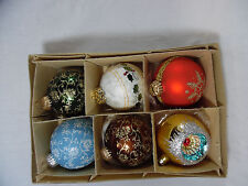 Set of 6 Vintage Christmas Ornaments Decorations Bulbs Austria W. Germany Poland