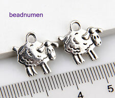 30pcs Jewelry Making Zinc Alloy Nice Sheep Charms Pendants 14x15mm 1A1731