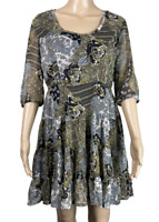 ISHKA    Chiffon Rara Dress 3/4 Sleeves   Lined   Made In India   BNWT   Size S