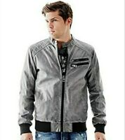 GUESS XXL SOFT FAUX LEATHER BOMBER JACKET GRAY GREY 2XL