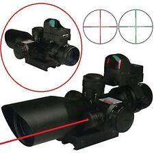 Sports Gun 2.5-10X40 Rifle Scope w/Red Laser&Mini Reflex 3 MOA Red Dot Sight New