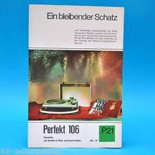 Perfekt 106 Phonokoffer DDR 1968   Prospekt Werbung Werbeblatt DEWAG P21 D