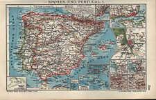 Landkarte map 1910: SPANIEN UND PORTUGAL. I/II. Lissabon Madrid Cadiz Madeira