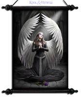 "Anne Stokes Wall Art Scroll: ""Prayer for the Fallen"" Kneeling Gothic Angel"