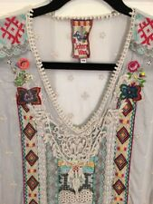 Johnny Was Biya Mint Green Floral Embroidered Tunic Xs New